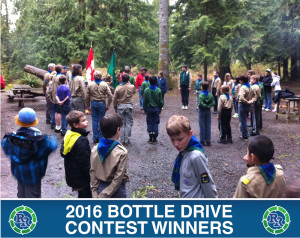 Nanaimo 1st Cedar Scouts | Regional Recycling Bottle Drive Winners 2016