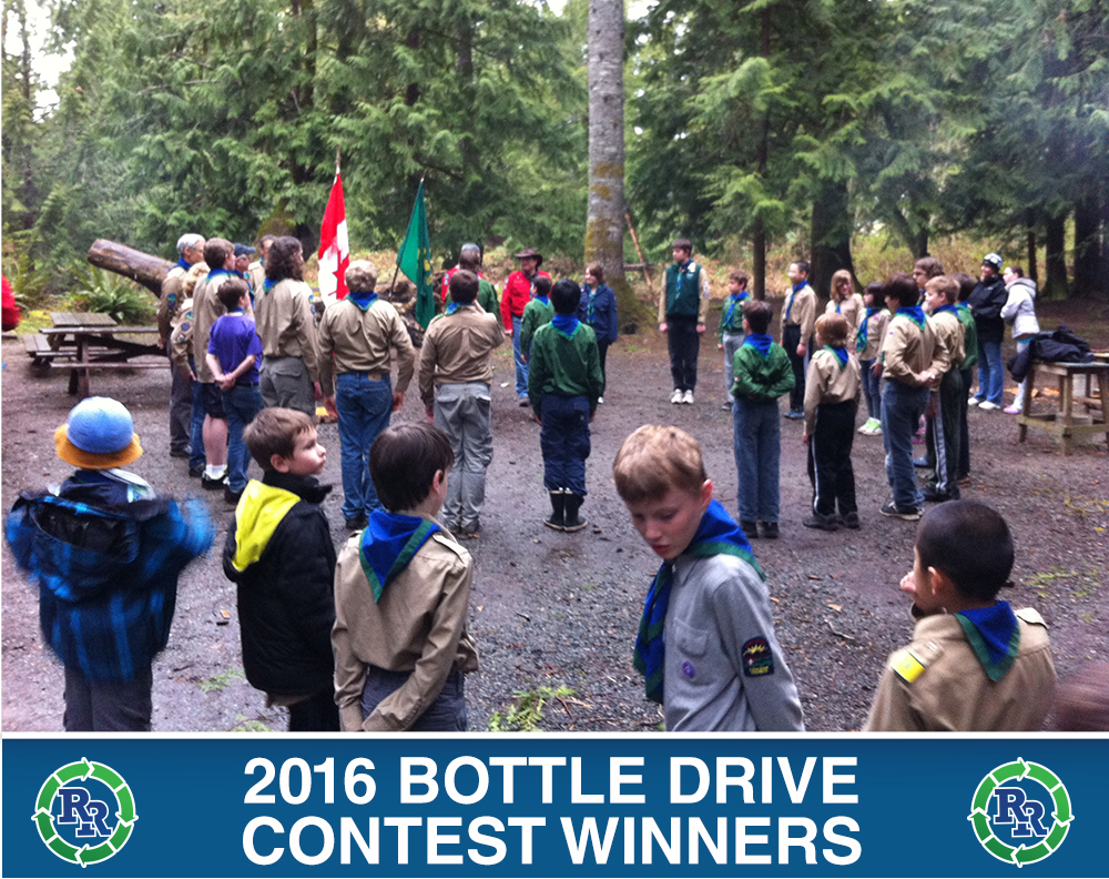 Nanaimo 1st Cedar Scouts | Regional Recycling Bottle Drive Winners 2015