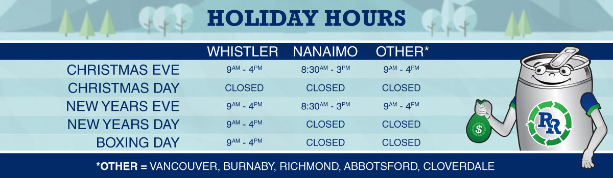 Holiday Hours for Regional Recycling Bottle Depots
